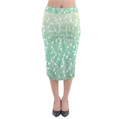 Green Ombre Feather Pattern, White, Midi Pencil Skirt