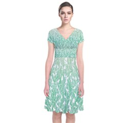 Green Ombre Feather Pattern, White, Wrap Dress