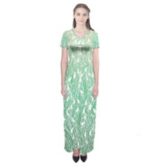 Green Ombre Feather Pattern, White, Short Sleeve Maxi Dress