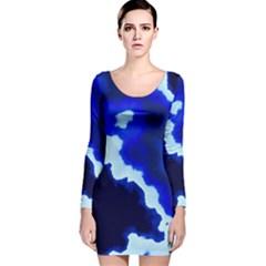 Blues Long Sleeve Velvet Bodycon Dress