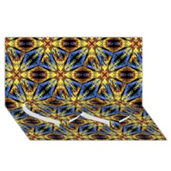 Vibrant Medieval Check Twin Heart Bottom 3d Greeting Card (8x4)