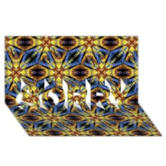 Vibrant Medieval Check SORRY 3D Greeting Card (8x4)