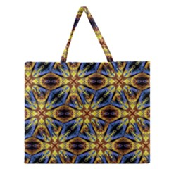 Vibrant Medieval Check Zipper Large Tote Bag
