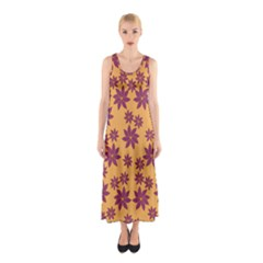Purple And Yellow Flower Shower Sleeveless Maxi Dress