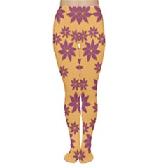 Purple And Yellow Flower Shower Women s Tights