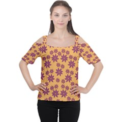 Purple And Yellow Flower Shower Women s Cutout Shoulder Tee