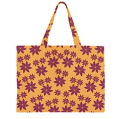 Purple And Yellow Flower Shower Large Tote Bag