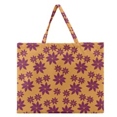 Purple And Yellow Flower Shower Zipper Large Tote Bag