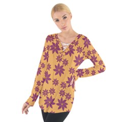 Purple And Yellow Flower Shower Women s Tie Up Tee