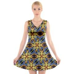 Vibrant Medieval Check V-Neck Sleeveless Skater Dress