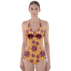 Purple And Yellow Flower Shower Cut-Out One Piece Swimsuit