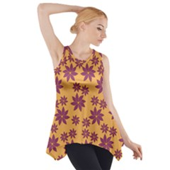 Purple And Yellow Flower Shower Side Drop Tank Tunic