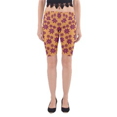 Purple And Yellow Flower Shower Yoga Cropped Leggings