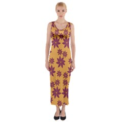 Purple And Yellow Flower Shower Fitted Maxi Dress