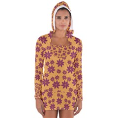 Purple And Yellow Flower Shower Women s Long Sleeve Hooded T-shirt
