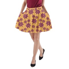 Purple And Yellow Flower Shower A Line Pocket Skirt