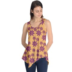 Purple And Yellow Flower Shower Sleeveless Tunic