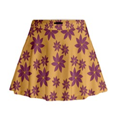Purple And Yellow Flower Shower Mini Flare Skirt