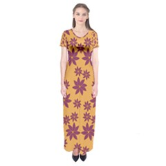 Purple And Yellow Flower Shower Short Sleeve Maxi Dress