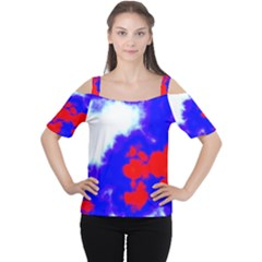 Red White And Blue Sky Women s Cutout Shoulder Tee