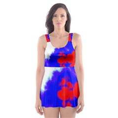 Red White And Blue Sky Skater Dress Swimsuit
