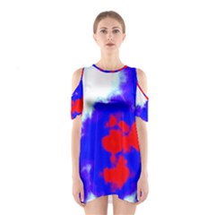 Red White And Blue Sky Cutout Shoulder Dress