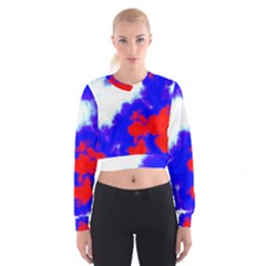 Red White And Blue Sky Women s Cropped Sweatshirt