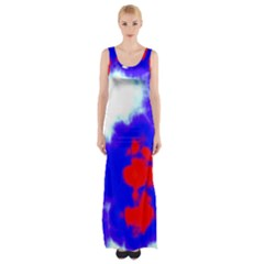 Red White And Blue Sky Maxi Thigh Split Dress