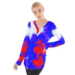 Red White And Blue Sky Women s Tie Up Tee