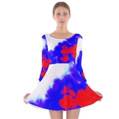 Red White And Blue Sky Long Sleeve Velvet Skater Dress