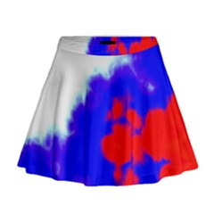 Red White And Blue Sky Mini Flare Skirt
