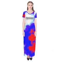 Red White And Blue Sky Short Sleeve Maxi Dress