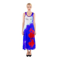 Red White And Blue Sky Sleeveless Maxi Dress