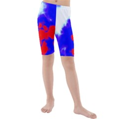 Red White And Blue Sky Kid s Mid Length Swim Shorts