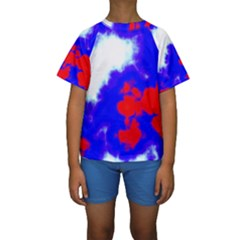 Red White And Blue Sky Kid s Short Sleeve Swimwear