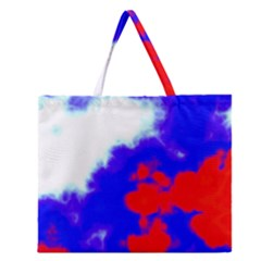 Red White And Blue Sky Zipper Large Tote Bag