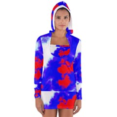 Red White And Blue Sky Women s Long Sleeve Hooded T-shirt