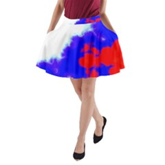 Red White And Blue Sky A-Line Pocket Skirt