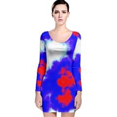 Red White And Blue Sky Long Sleeve Velvet Bodycon Dress