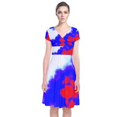 Red White And Blue Sky Wrap Dress