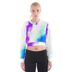 Pink White And Blue Sky Women s Cropped Sweatshirt