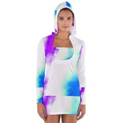 Pink White And Blue Sky Women s Long Sleeve Hooded T-shirt