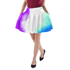 Pink White And Blue Sky A-Line Pocket Skirt