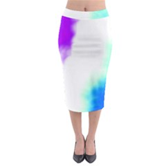 Pink White And Blue Sky Midi Pencil Skirt
