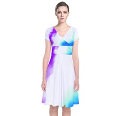 Pink White And Blue Sky Wrap Dress