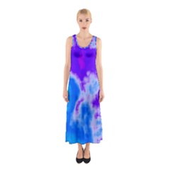 Purple And Blue Clouds Sleeveless Maxi Dress