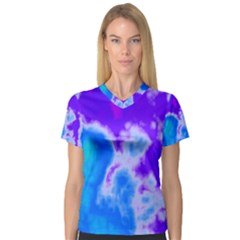 Purple And Blue Clouds Women s V-Neck Sport Mesh Tee