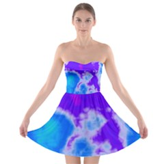 Purple And Blue Clouds Strapless Dresses
