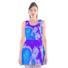 Purple And Blue Clouds Scoop Neck Skater Dress