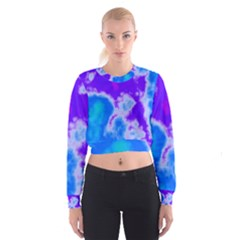 Purple And Blue Clouds Women s Cropped Sweatshirt